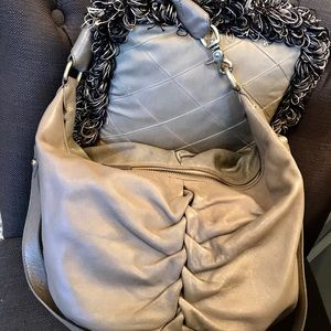Botkier Taupe Ruched Hobo Crossbody Shoulder Bag